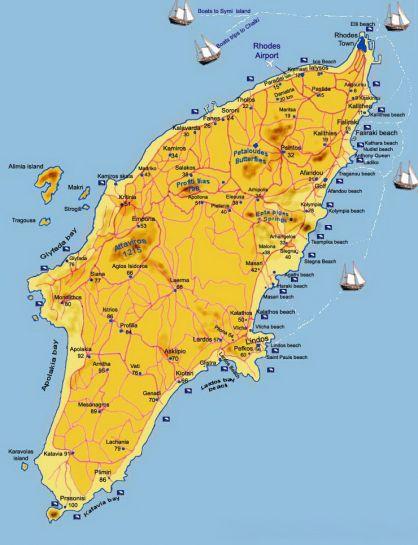 карта Родос