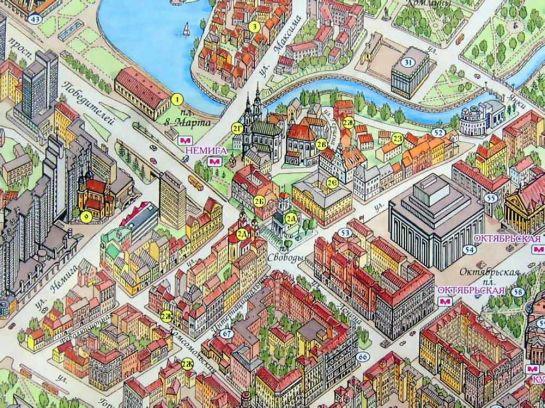 Новая гостиница появится на перемечении улиц Интернациональной и Комсомольской (Верхний город – фрагмент карты Рубена Атояна)