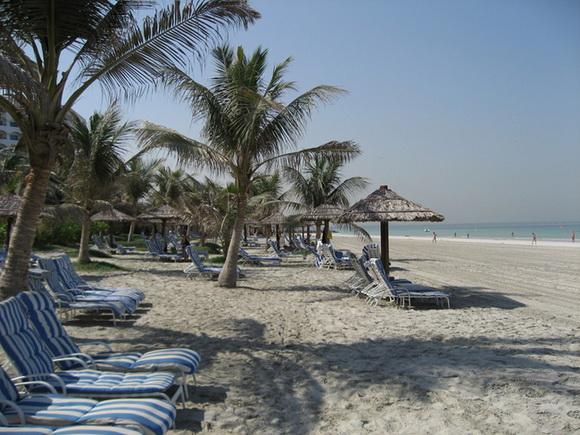 Аджман пляж шезлонги и пальмы